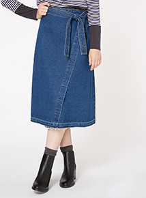 Blue Denim Wrap Skirt