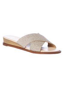 Glitter Cross Strap Wedged Sandals