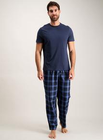 Navy Pyjamas With Checked Bottoms