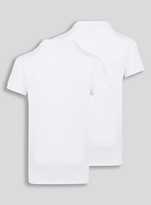 2 Pack White Slim Fit Teen Polo (10-16 years)