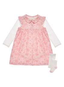 Pink Floral Corduroy Dress, Bodysuit and Tights Set (0 - 12 months)