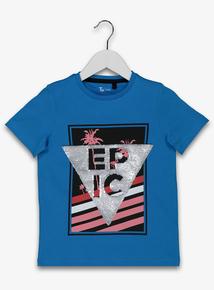 Blue Epic Sequin T Shirt 3