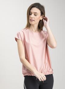 Active Pink Cap Sleeve Satin Top