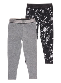 2 Pack Black and Grey Sparkle Mystical Legging (3-14 years)