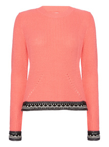 Pink Crochet Open Back Jumper