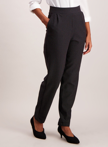 Monochrome Tapered Leg Stretch Trousers