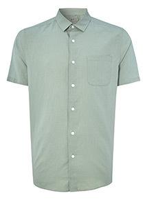 Green Linen Relaxed Fit Shirt