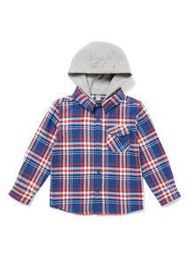 Blue Check Hooded Shirt (3-14 years)
