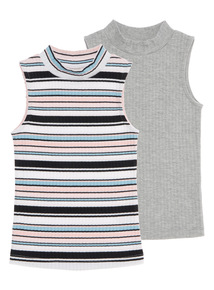 Multicoloured Ribstop Sleeveless Tops 2 Pack (3 - 12 years)