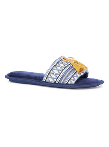 Navy Jacquard Open Toe Slippers