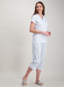 edf289c90d Blue Daisy Short Sleeve Cropped Traditional Pyjamas