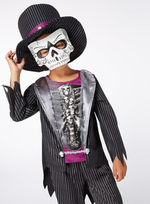 Black Halloween Skeleton Tuxedo with Hat and Mask  (3-12 years)