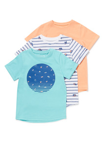 3 Pack Multicoloured Surf Print T-Shirts (3-14 years)