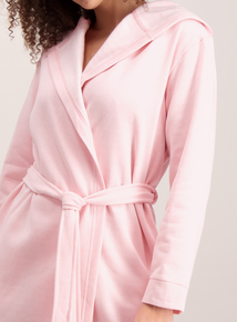 Pink Jersey Hooded Dressing Gown