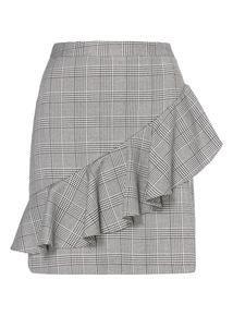 Check A Line Ruffle Skirt