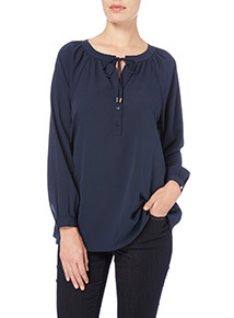 Plain Tie Neck Blouse