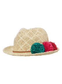 Multicoloured Paper Pom Pom Trilby Hat