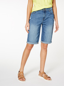 Mid Denim Bermuda Shorts