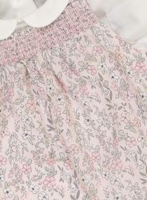 Pink Floral Dungarees & Bodysuit Set (0-24 months)