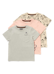 3 Pack Multicoloured Cactus Print T-Shirts (9 months-6years)