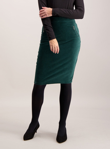 Dark Green Corduroy Pencil Skirt