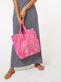 Pink Pineapple Print Canvas Tote Bag