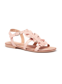 Online Exclusive Studded Leather Ruffle Sandal