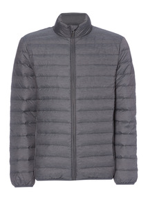 Grey Textured Down Filled Puffer