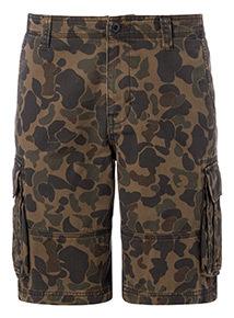Khaki Camo Print Cargo Shorts