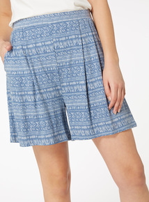 Blue Geometric Print Shorts