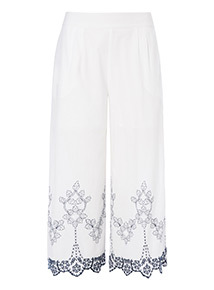 Schiffly Hem Cropped Trousers