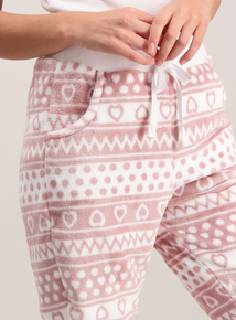 Pink & White Aztec Print Fleece Pyjama Bottoms