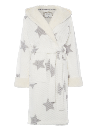 Womens White Star Print Dressing Gown Tu Clothing