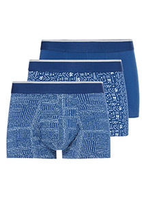 3 Pack Blue Tribal Print Hipster Briefs