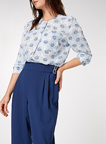 MultiColoured Floral Roll Sleeve Top