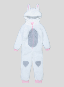 White Sparkle Fleece Bunny All  In One (3-12 years)