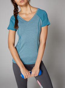 Blue Panelled Active Top