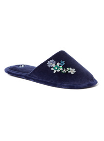 Navy Floral Detail Mule Slippers