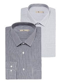 2 Pack Navy Patterned Tailored Fit Shirts