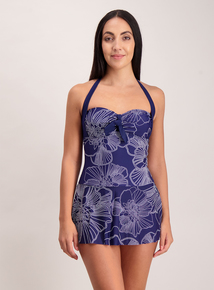 Blue Floral Skirty Swimsuit