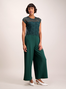 Online Exclusive Dark Green Lace Jumpsuit