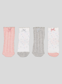 Multicoloured Cable & Spot Socks 4 Pack (0-36 Months)