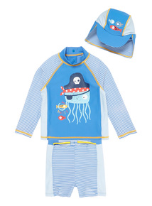 Boys Blue Pirate Octopus Swimwear Set 3 Pack with Integrated Nappy (Newborn - 3 years)
