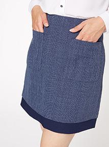 Navy Pocket A Line Skirt