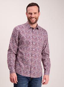 Burgundy Floral Print Regular Fit Shirt