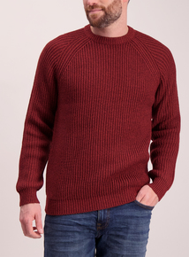 Red Chunky Ribbed Knit Crew Neck Jumper