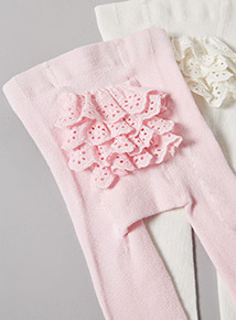 2 Pack Pink and Cream Frilly Tights (0-24 months)