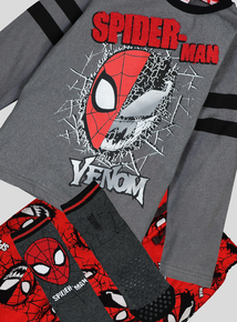Disney Spiderman & Venom Long-Sleeved Pyjama Set With Matching Slipper Socks (3-12 Years)