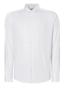 White Patterned Slim Stretch Shirt