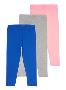 Girls Multicoloured Leggings 3 Pack (3-12 Years)